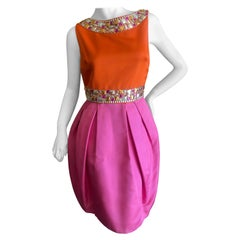 Dior by John Galliano Orange and Pink Silk Sixties Style Embellished Dress