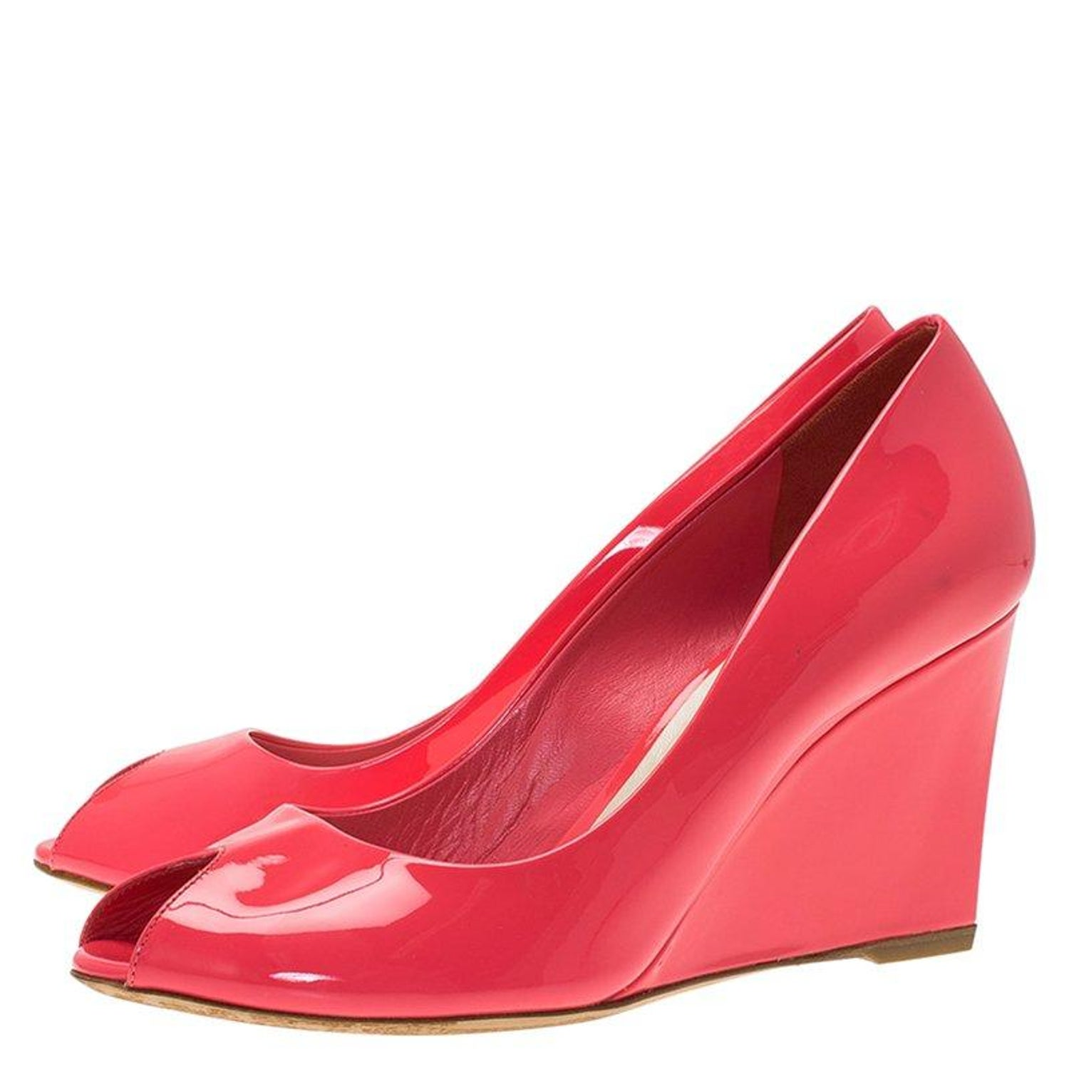 dc9ca4fca0c54 Dior Candy Pink Patent Peep Toe Wedge Pumps Size 38.5