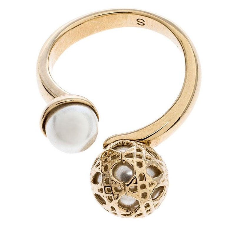 Women's Dior Cannage Faux Pearl Crystal Gold Tone Open Ring Size 51 For Sale