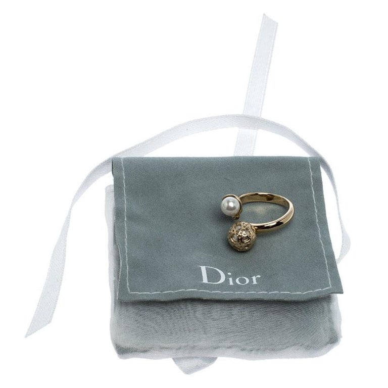 Dior Cannage Faux Pearl Crystal Gold Tone Open Ring Size 51 For Sale 1