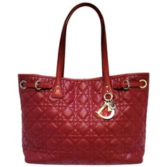 Dior Cannage Panarea Red Quilted Tote Handbag