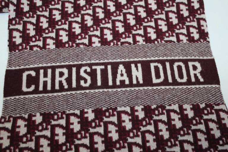 Dior Cashmere/Wool Oblique Scarf - Dark Red In New Condition For Sale In London, GB