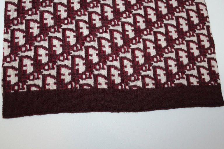 Women's or Men's Dior Cashmere/Wool Oblique Scarf - Dark Red For Sale