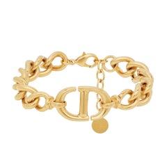 Dior CD Navy Bracelet Gold Tone