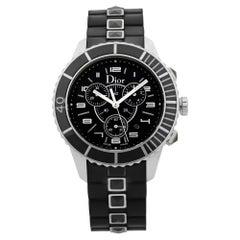 Dior Christal Chrono Black Dial Steel Rubber Quartz Unisex Watch CD114317