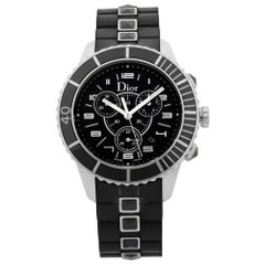Dior Christal Chrono Black Dial Steel Rubber Quartz Unisex Watch CD114317