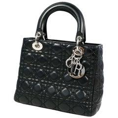 Dior Christian  Christian  Lady  Cannage Womens handbag CAL44551 black x silver