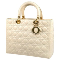 Dior Christian  Christian  Lady  Cannage Womens handbag ivory x gold hardware