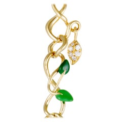 Dior Christian Dior Feuillus 18 Karat Gold Diamonds Emerald and Green Enamel