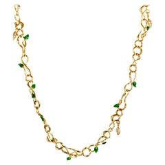 Dior Christian Dior Feuillus Yellow Gold Diamonds Emerald and Green Enamel