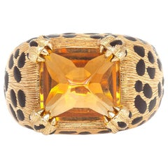 Dior Citrine and Enamel Leopard Print Ring