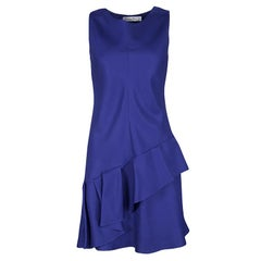 Dior Cobalt Blue Silk Wool Ruffled Bottom Sleeveless Dress M