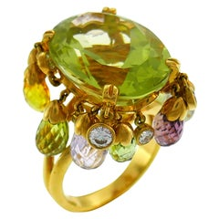 Dior Colored Gemstones Yellow Gold Ring, 1980s