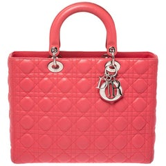 Dior Coral Cannage Leather Large Lady Dior Tote