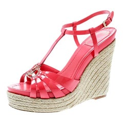 Dior Coral Pink Patent Leather Espadrille Wedge T-Strap Sandals Size 39.5