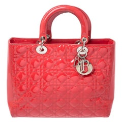 Dior Coral Red Cannage Patent Leather Large Lady Dior Tote