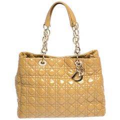 Dior Cream Cannage Patent Leather Soft Lady Dior Shopper Tote