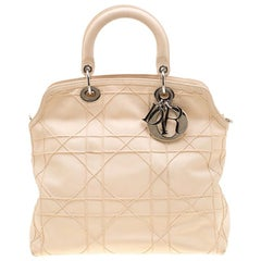 Dior Cream Cannage Quilted Leather Granville Tote