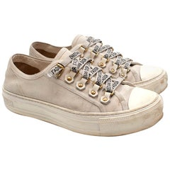 Dior Cream Canvas Walk'n'Dior Lace Up Sneakers 36