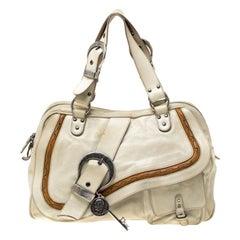 Dior Cream Gaucho Leather Large Double Saddle Shoulder Bag