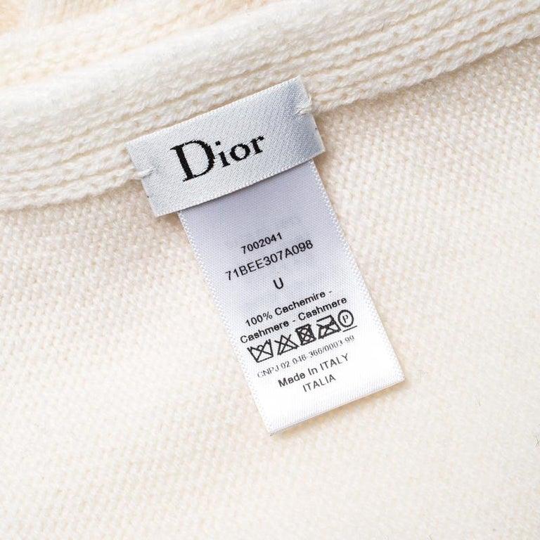Dior Cream Knit Cashmere Scarf For Sale 2