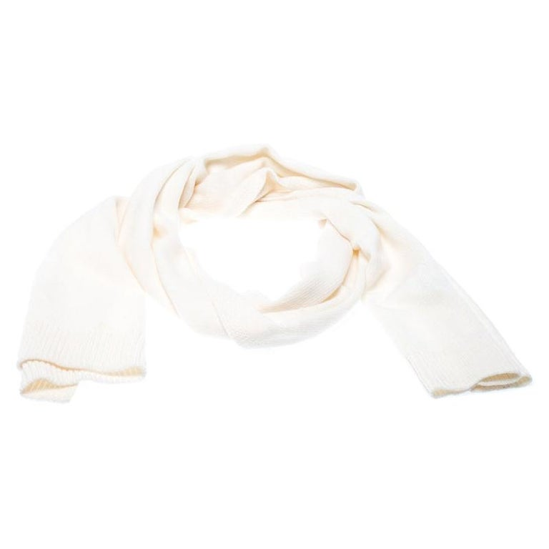 Dior Cream Knit Cashmere Scarf For Sale