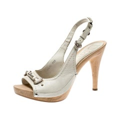 Dior Cream Leather Slingback Open Toe Platform Sandals Size 37.5