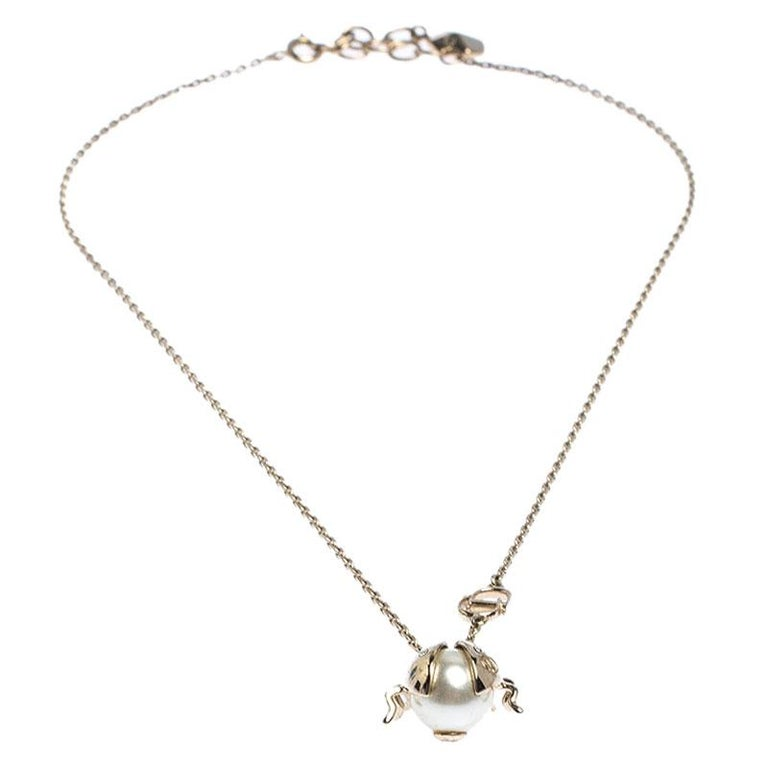 Contemporary Dior Crystal Faux Pearl Lady Bug Gold Tone Pendant Necklace For Sale