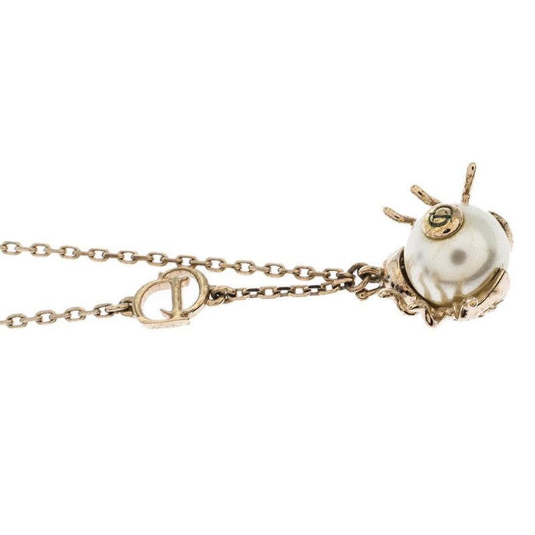 Dior Crystal Faux Pearl Lady Bug Gold Tone Pendant Necklace In Good Condition For Sale In Dubai, Al Qouz 2