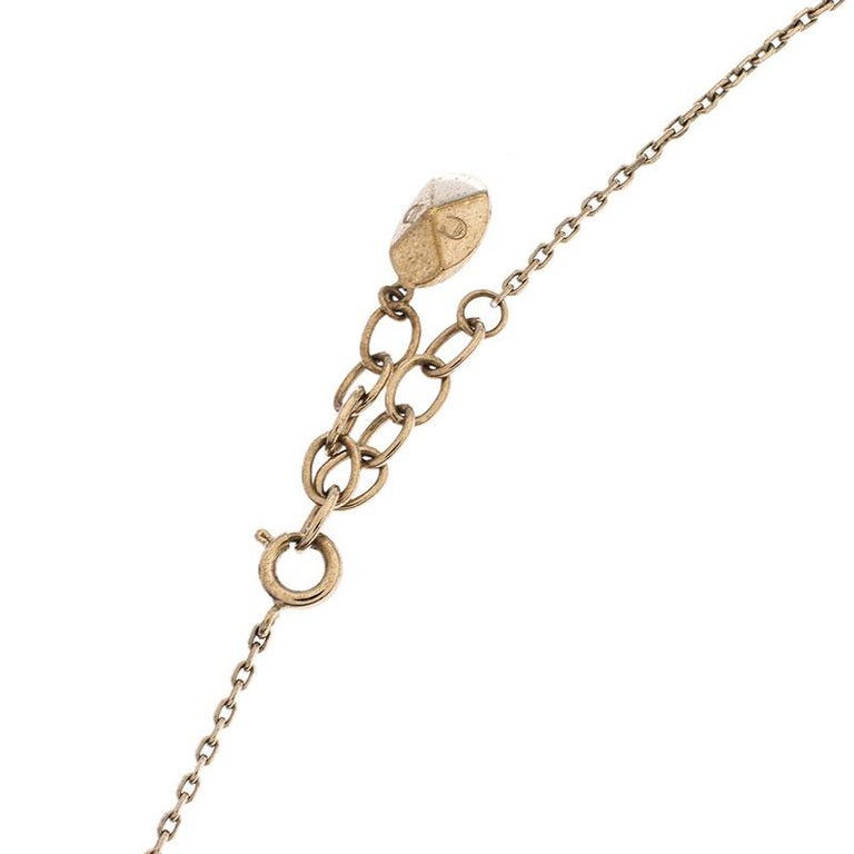 Women's Dior Crystal Faux Pearl Lady Bug Gold Tone Pendant Necklace For Sale