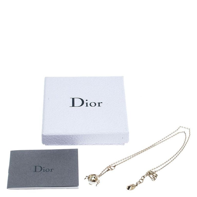 Dior Crystal Faux Pearl Lady Bug Gold Tone Pendant Necklace For Sale 1