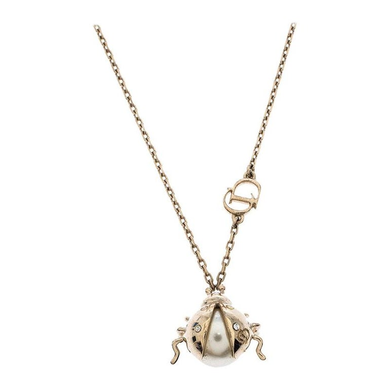 Dior Crystal Faux Pearl Lady Bug Gold Tone Pendant Necklace For Sale