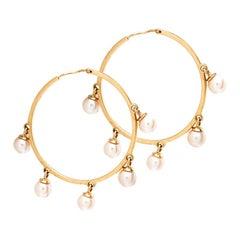 Dior Cultured Pearl 18k Rose Gold Hoop Earrings