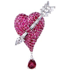 Dior Cupidon Diamonds, Rubies and Red Spinel White Gold Arrow and Heart Brooch