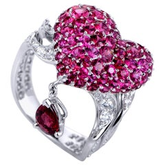 Dior Cupidon Diamonds, Rubies and Red Spinel White Gold Arrow and Heart Ring