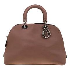 Dior Dark Beige Leather Diorissimo Dome Bag