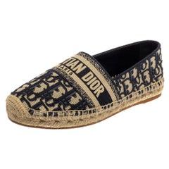 Dior Dark Blue/Beige Oblique Embroidered Cotton Fabric Granville Flat Size 38