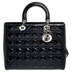 Dior Dark Blue Cannage Patent Leather Large Lady Dior Tote
