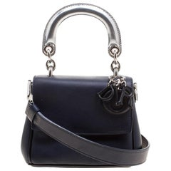Dior Dark Blue Leather Micro Be Dior Flap Bag