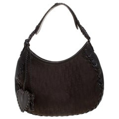 Dior Dark Brown Diorissimo Nylon Hobo