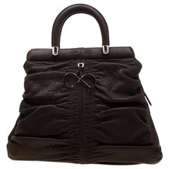Dior Dark Brown Leather Karenina Hermitage Satchel