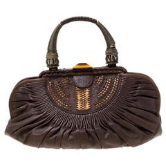 Dior Dark Brown Pleated Leather Medium Plisse Frame Bag