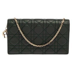 Dior Dark Green Cannage Leather Lady Dior Pouch