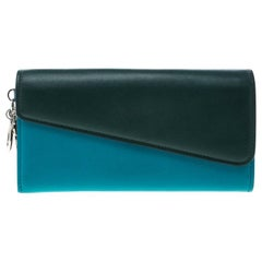 Dior Dark Green/Turquoise Leather Diorissimo Continental Wallet