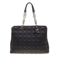 Dior Dark Grey Cannage Leather Lady Dior Zipped Shopper Tote