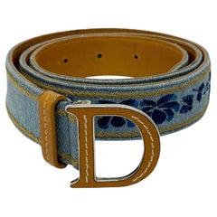 Dior Denim Belt with Silver Hardware