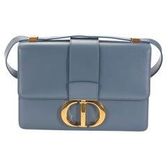 Dior Denim Blue Box Calfskin 30 Montaigne Flap Bag