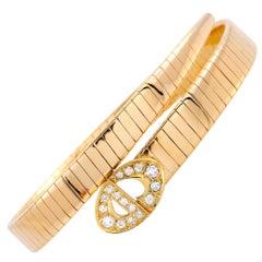 Dior Diamond Yellow Gold Bypass Buckle Bracelet