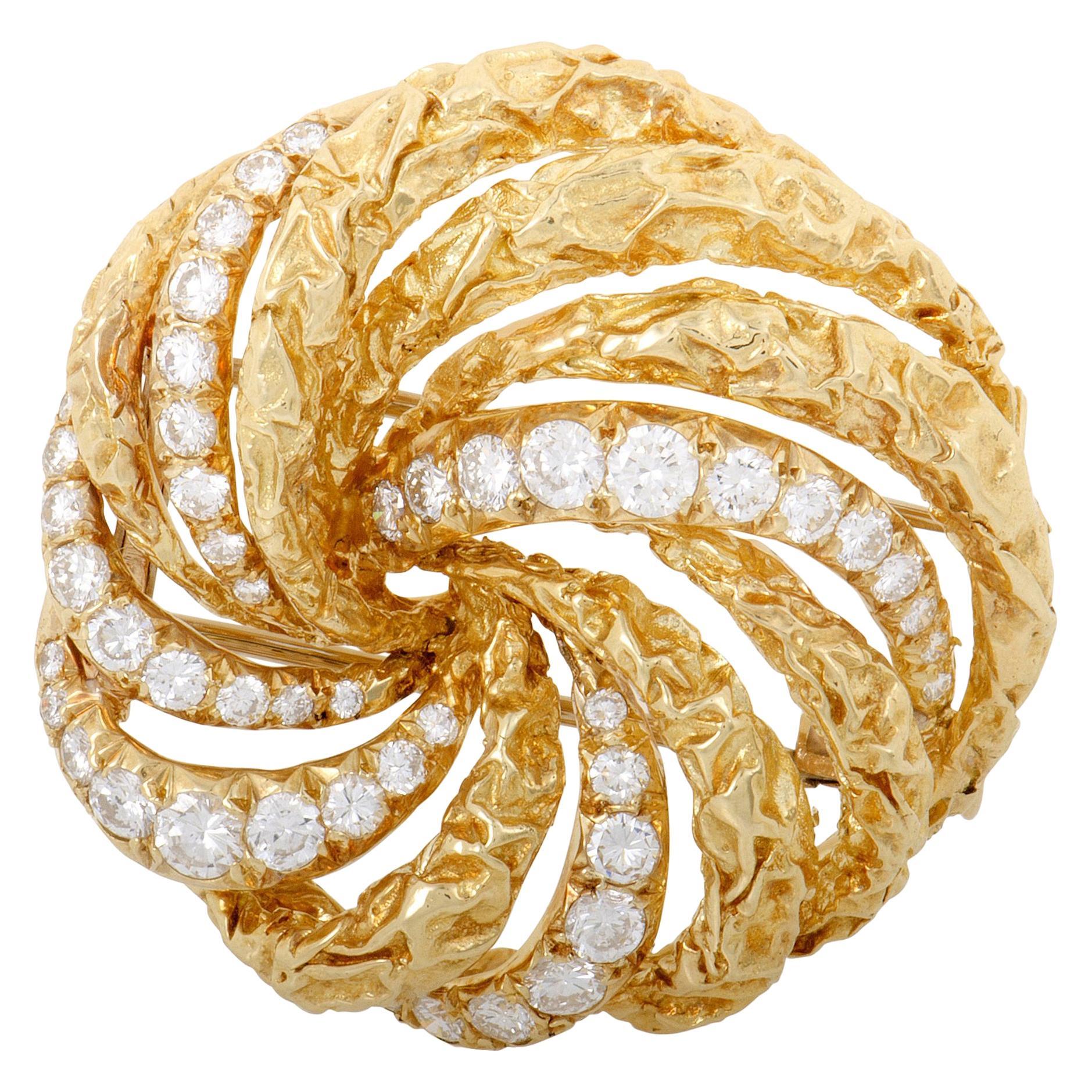 Dior Diamond Yellow Gold Swirl Brooch