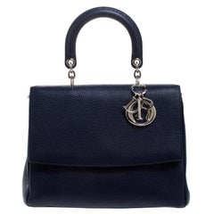 Dior Dior Blue Leather Large Be Dior Flap Top Handle Bag